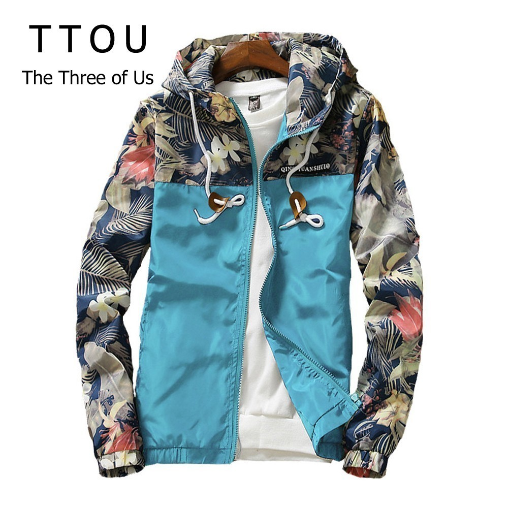 TTOU Women Printed Hooded Jackets Causal Windbreaker Fashion Basic Jackets Coats Zipper Lightweight Jackets Bomber Famale