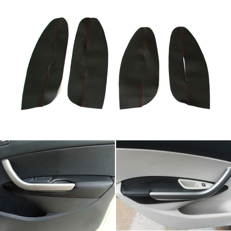Microfiber Leather Car Styling Interior Door Handle Panel <font><b>Armrest</b></font> Protection Cover Trim For <font><b>Peugeot</b></font> <font><b>408</b></font> 2010 2011 2012 2013 image