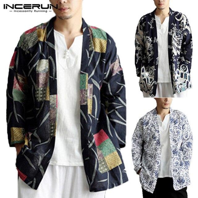 INCERUN 2019 Người Đàn Ông Rãnh Áo Dân Tộc In Bông Outwear Trung Quốc Phong Cách Túi Dài Tay Áo Người Đàn Ông Áo Khoác Kimono Cardigan Người Đàn Ông 5XL