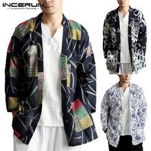 INCERUN 2019 mężczyźni trencz etniczne drukowane bawełna znosić chiński styl kieszenie z długim rękawem mężczyźni kurtki kardigan kimono mężczyźni 5XL tanie tanio Wykop COTTON Pełna REGULAR Skręcić w dół kołnierz Drukuj Otwórz stitch Cienkie NONE Luźne Chinese Style Mens Outerwear Trench Coat