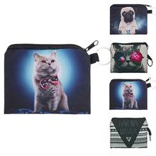 Cute 3D Digital Dog Cat Printing Coin Pouch Coin Wallet Holder Multifunction Cartoon Coin Purse For Children Girls Teenagers