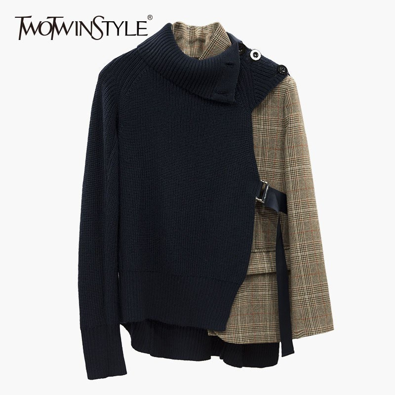 TWOTWINSTYLE Plaid Blazer Coat Female Long Sleeve Bandage Patchwork Knitting Sweater Asymmetrical Women s Suits 2019