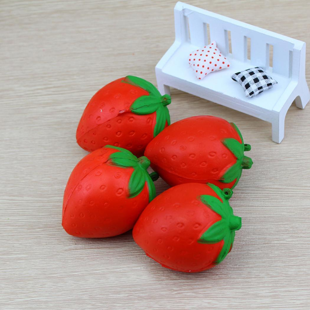 Slow Rebound Simulation Fruit Strawberry Squeeze Fun Vent ToysRed