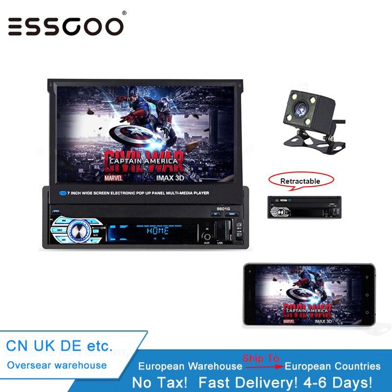 Autoradio Essgoo 1 DIN rétractable écran tactile Mp5 lecteur Bluetooth Autoradio FM USB charge Tf Aux Android téléphone miroir lien