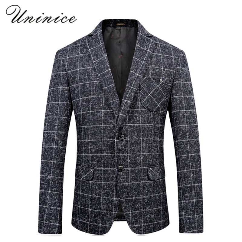 Suits & Blazers Men Fashion High Quality Linen Cotton Plaid Suits Autumn Winter Casual Caballero Delgado Formal Single Button Jacket Fashionable Patterns