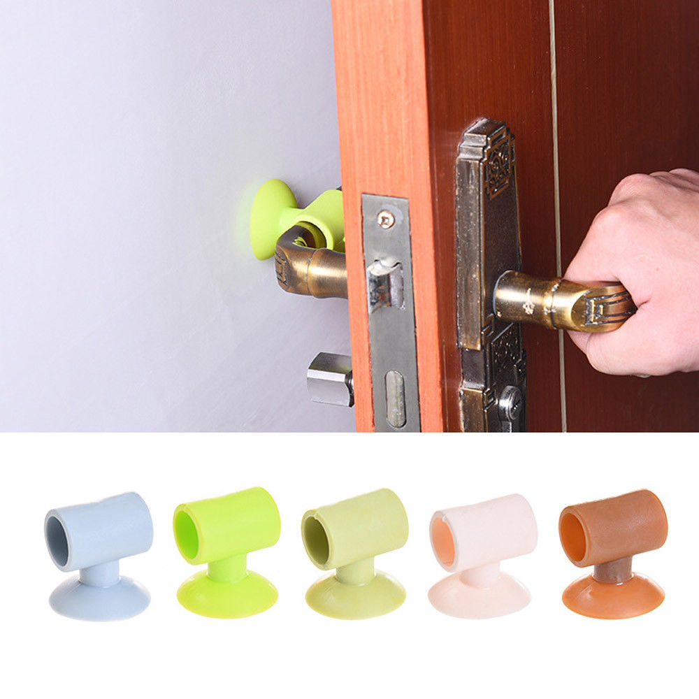 5Pcs Silicone Door Handle Bumper Knob Crash Pad Wall Protector Guard Door Stopper Anti Collision Random Color