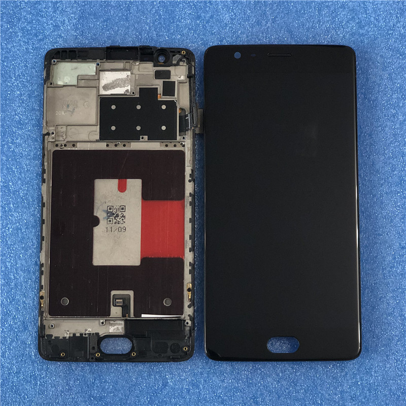 Original Axisinternational For Oneplus 3T A3010 Super Amoled LCD Screen DisplayWith Frame+Touch Digitizer For OnePlus 3T Display