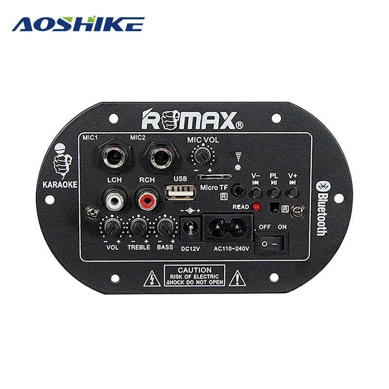 AOSHIKE Subwoofer Amplifier Board 12V 220V 30W Dual Microphone Bluetooth Amplifier Audio