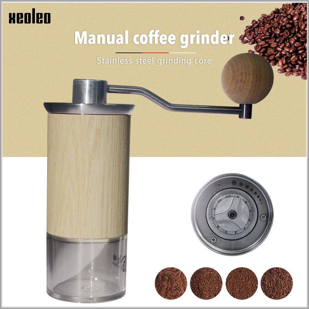 XEOLEO Portable Coffee Grinder Aluminum Manual Coffee Miller Conical Coffee Milling Machine 57mm Espresso Maker