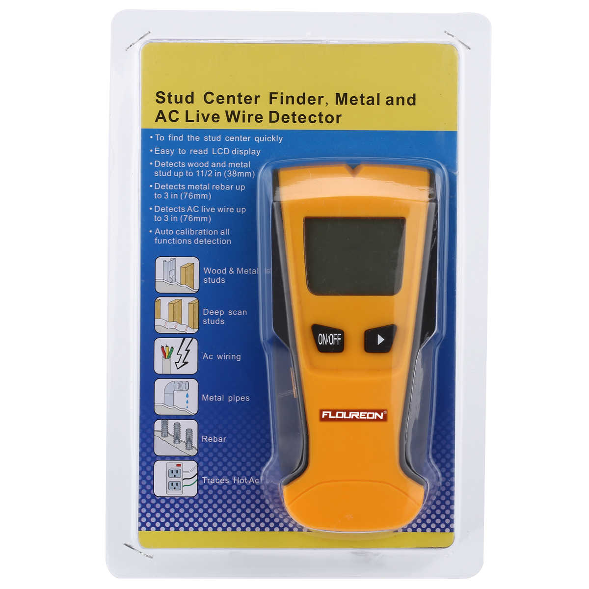 floureon 3 in 1 stud finder wood metal detector wiring ac live wire wall scanner detector electric box finder bosch wall scanner eoutil th240 multi scanner wall stud