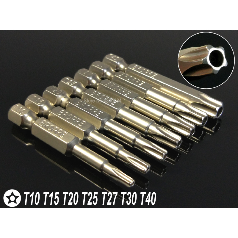 """50mm 1//4/"""" Hex Shank Five-pointed Star Magnetic Screwdriver Bits T10-T40 Useful"""