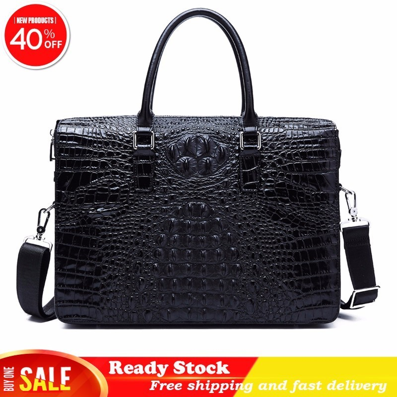Office Bags For Men Messenger Casual Briefcase Business Crocodile Pattern Genuine Leather Laptop Handbag Password Lock Computer