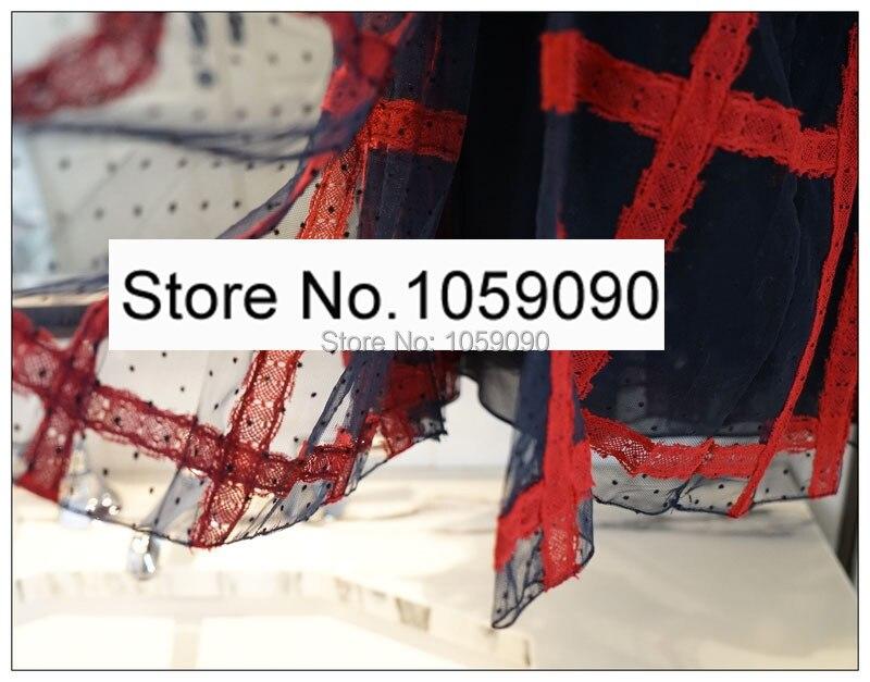 Mode Designer Détail En dark Fentes Jupes De Blue Vérifié Dentelle Femme Midi Qualité Noir rouge Doublure Tulle Taille Soie Ceinture Jupe Haute Longues Avec Lace ybgvYIf67