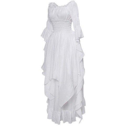 Fashion Loose Women Gothic Dress Female Princess Flare Sleeve Pullover Long Dress Elegant Off Shoulder Party Plus Size Dresses 5