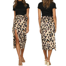 1f7d302e7055 New Fashion Women Leopard Skirt Slim Wrap Asymmetric Bandage Lace Up Side Split  Gypsy Drape Bodycon