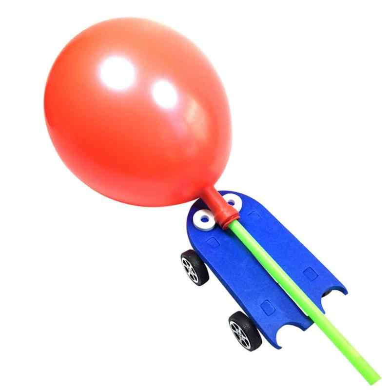 DIY Balloon Power Car Opposite Reaction Invented Children Science Experimental Learning Educational Toys For Kids Gift