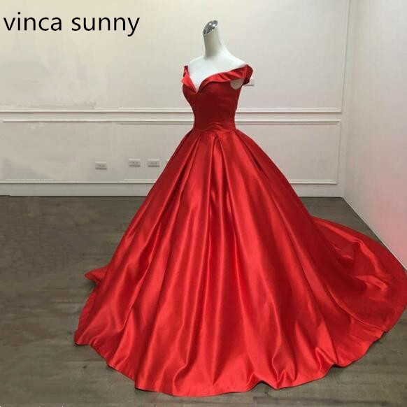 vinca sunny 2019 Elegant Simple Red   Prom     Dresses   V Neck Ball Gowns Cap Sleeve Satin vestidos de formatura Custom Made Backless