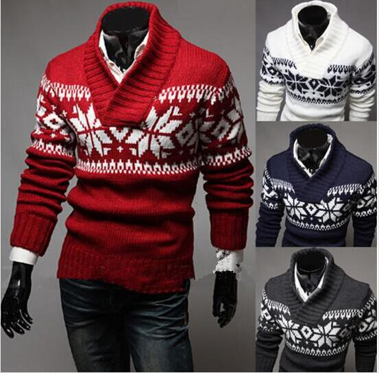 Casual Sweater O-Neck Men Long Sleeve Snowflake Style Male Pollover Sweater Thick Clothes