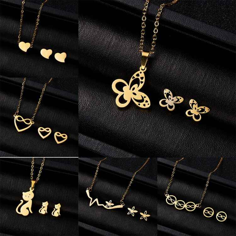 Luxury Gold Color Women Infinite Owl Love Heart Fatima Hand Necklace Earrings Stainless Steel Bridal Wedding Jewelry Sets
