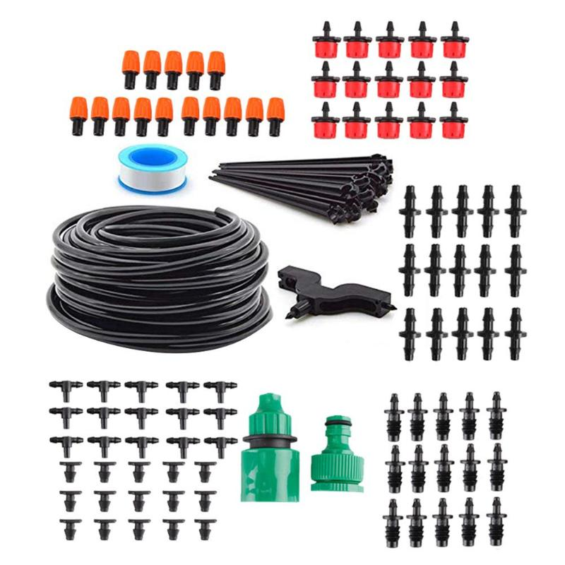 COMPLETE GARDEN SOAKER HOSE KIT By C 325ft 100M hi grade soaker hose with built in non clog,self cleaning drippers that will deliver a constant drip of water all along the pipe.This kit comes with 25 ground stakes and a selection of 10 matching connectors