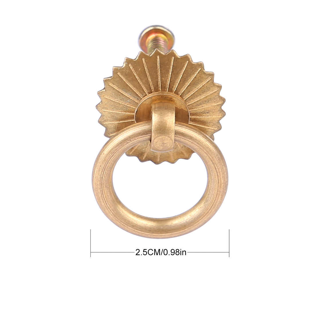 10pcs/8pcs/6pcs J2.5cm Antique Copper Furniture Ring Simple Handle Drawer Pull Handle Knobs And Handles For home Furniture gold