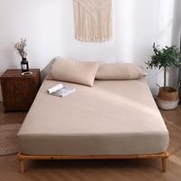 New Solid color Cotton Fitted Sheet Khaki Modern Simplicity Plain Weave Style 120x200cm 180x200cm 1PCS