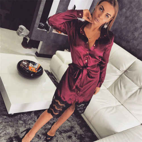 New Solid Button Shirt Dress Sexy Women's Sashes Belt Sleepwear Lace Dress Lady Long Bathrobe Night Gown Robe
