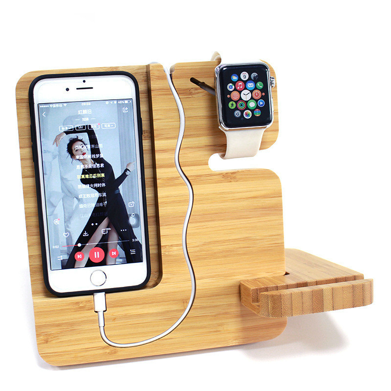 Phone-Holder Station-Dock Watch-Charger Natural-Bamboo Apple Xiaomi for 2-In-1 Mi-A1