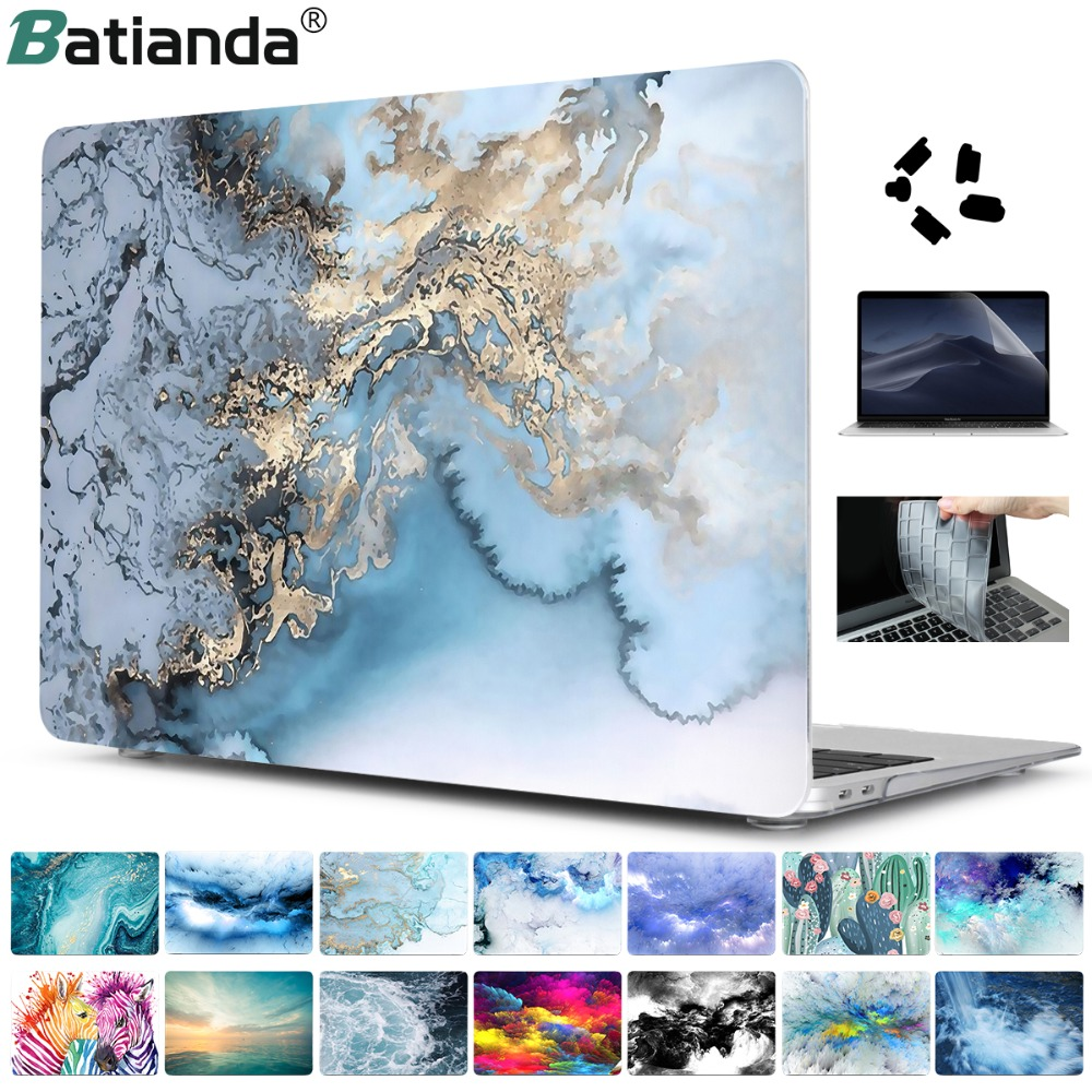 4 in 1 Set Marble Case For Apple MacBook Pro Air 13 15 Inch touch bar 2018 A1932 A1706 A1990 Hard Cover with free gift(China)