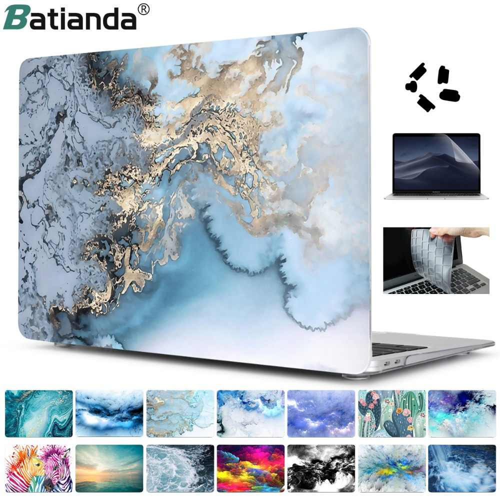 4 En 1 Set funda de mármol para Apple MacBook Pro Air 13 15 pulgadas touch bar 2019 2018 A2159 A1932 A1706 A1990 funda dura + regalo gratis