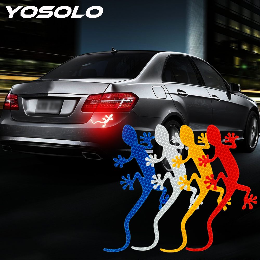 YOSOLO Car Reflective Sticker Bumper Car Sticker Auto Decor Safety Warning Mark Car-styling Gecko Reflective Strip Tape