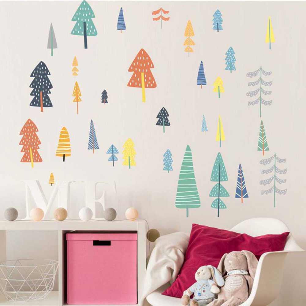 Nordic Style Forest Tree Color Wall Decals Woodland Tree Vinyl Art Wall Stickers For Kids Room Decoration Modern Wall Decor