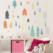 Nordic Style Forest Tree Color Wall Decals Woodland Vinyl Art Stickers For Kids Room Decoration Modern Decor