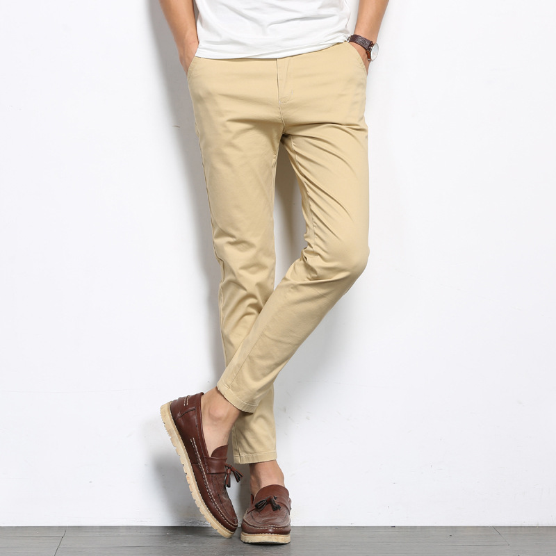 ICPANS Casual Pants Cropped-Trousers Stretch Business Ankle-Length Black Male Summer