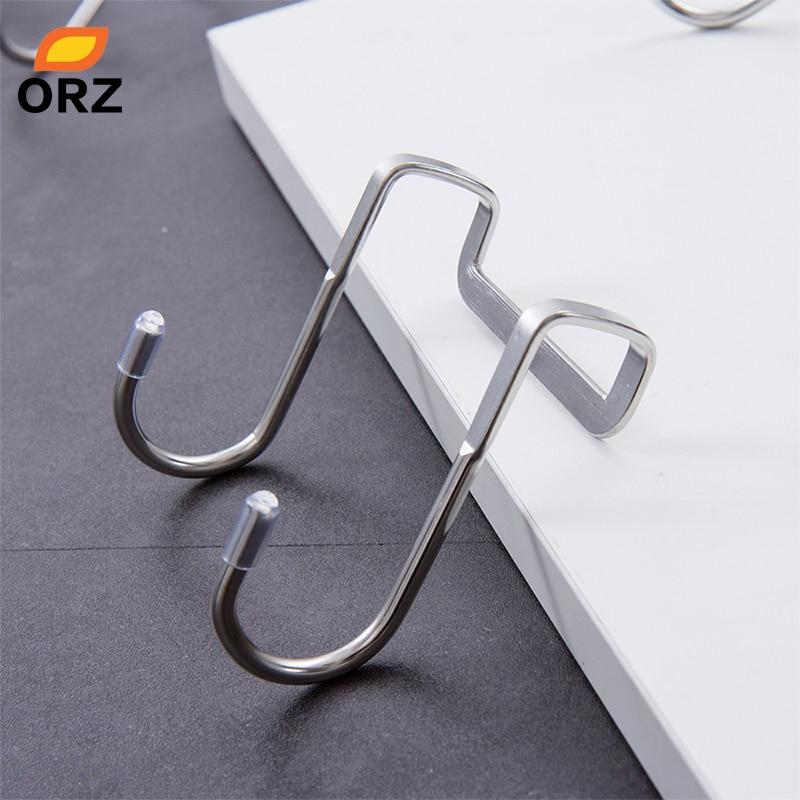 ORZ 4 PCS Home S Shaped Hanging Storage Hook Key Holder Stainless Steel Bathroom Organizer Shelf Door Towel Hook Storage Rack