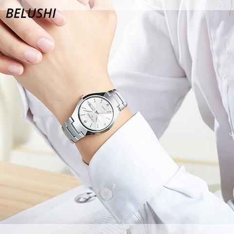Lovers Watches Luxury Quartz Wrist Watch for Men and Women Belushi Dual Calender Week Steel Couple Watches Relogios Masculino Islamabad