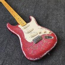 Инвентарь, старинная винтажная электрическая гитара, металлическая красная, наклейки amoeba. Старые гитары ST, реальные фотографии, бесплатная доставка
