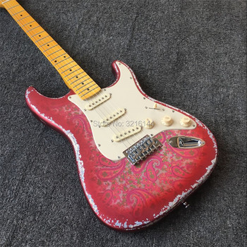 Stock inventory, antique relic electric guitar, metal red, amoeba stickers. Old guitars, real photos, free shipping