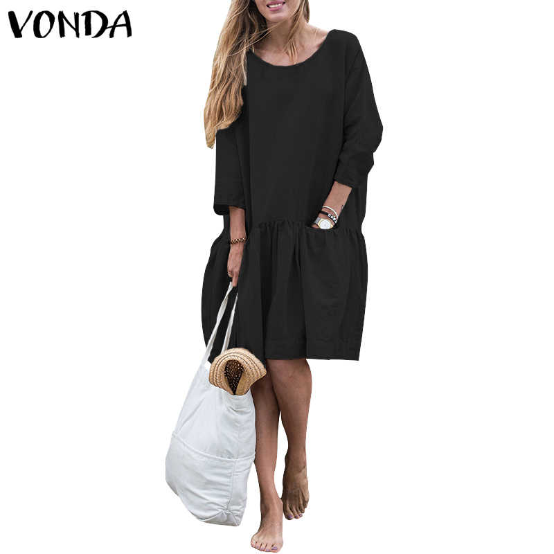 2556a2c437 VONDA Women Cotton Dress 2019 Autumn Vintage Casual Back Button Long Sleeve  Shirt Dress Pockets Midi