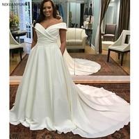 Off Shoulder Plus Size Wedding Dress Boat Neck White Ivory Robe De Mariee Pleats Satin Zipper Back Bridal Dress Chapel Train