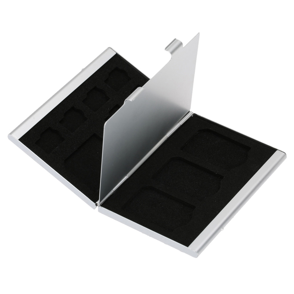 12 In 1 Aluminum Storage Box Bag Memory Card Case Holder Wallet Large Capacity For 4 * SD Micro SD SDHC SDXC MMC 8 * TF SIM Ca