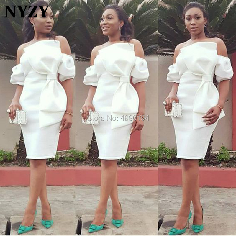 NYZY C100 Chic Big Bow Off Shoulder White Evening Dress Party Short Sleeve Robe Cocktail Vestido Coctel 2019