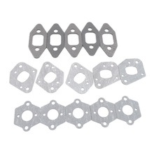 5Sets Chainsaw Manifold Intake Pipe Carburetor Muffler Gasket Kit fit P350 Partner 350 351 352 370 371 390 420 Tool Spare Parts p350 throttle trigger for poulan partner 350 351 chainsaw pt350 351 pa350 351 2 stroke 47cc 1 4kw chain saw
