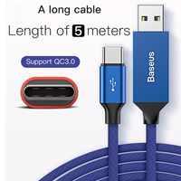 Câble Long USB Type C câble 5M 3A prise en charge rapide synchronisation des données pour Samsung Huawei Xiaomi type-c périphériques câble USB-C 5m cordon