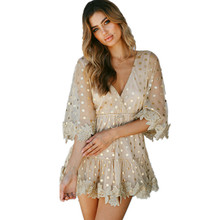 Women Dress Embroidery Dot Sequin Flare Sleeve V Neck Backless Mesh High Waist Lace Up Sexy Beach Party Dresses YOUNGER TREE