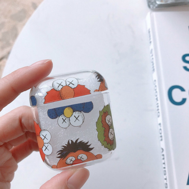 Cute Transparent Cartoon Sesame Street Earphone Hard Case For airpods case silicone Wireless Bluetooth Skin Headset bags Cover