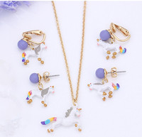 fashion simple Enamel glaze atural stone unicorn necklace earrings jewelry set