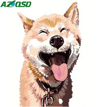 AZQSD Hand Painted Canvas Oil Painting By Numbers Dog Animals Wall Art Home Decoration Wall Picture Modern DIY Cartoon(China)