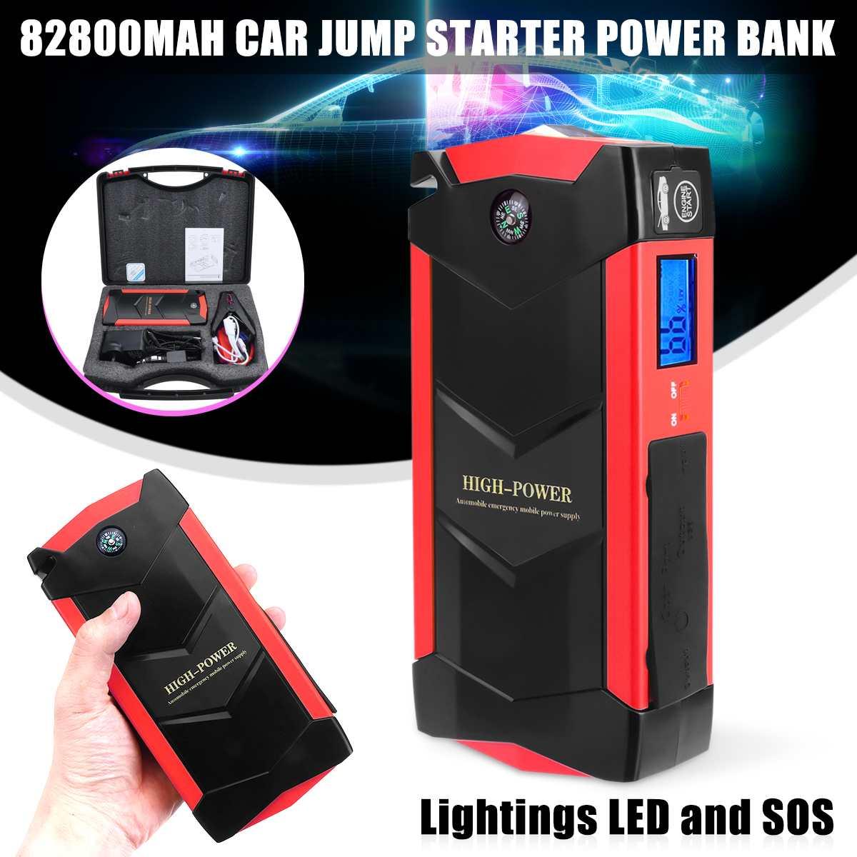 4 USB 12 V 82800 mAh Portable LED d'urgence voiture batterie saut démarreur multifonction batterie externe trousse à outils pour démarrage automatique dispositif
