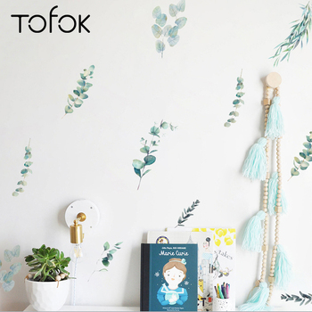 Tofok 12pcs/set Green Plants DIY Wall Sticker Watercolor Nordic Style Living room Bedroom Decals Fresh Office Nursery Decor Post фото